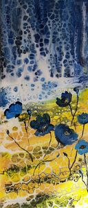 Waterfall with Himalayan Poppies - HafnerDekoArt