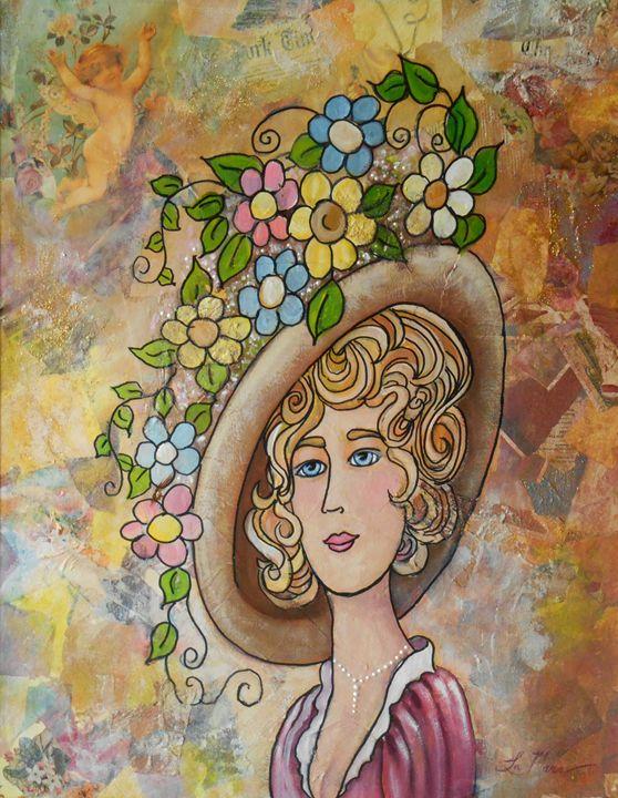 Lady with Flowers in her Hat - La Marr Kramer's Fine Art Gallery