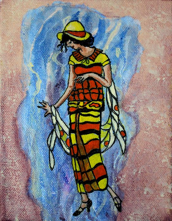Lady in the  Yellow and Red Dress - La Marr Kramer's Fine Art Gallery