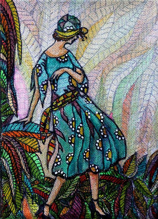 Lady in the Garden - La Marr Kramer's Fine Art Gallery