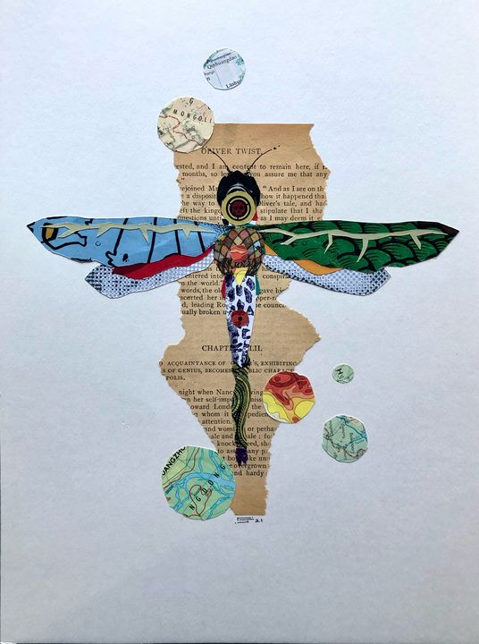 Dragonfly Collage 9x12 - Charles James Fine Art