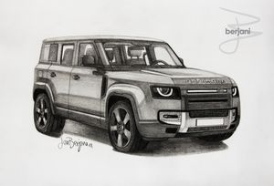 Land Rover Defender pencil drawing