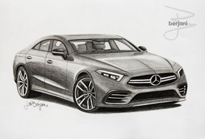 Mercedes-Benz CLS pencil drawing