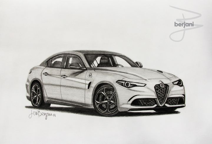 Alfa Romeo Giulia A3 car drawing - Berjani