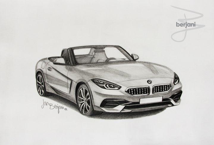 BMW Z4 2019 pencil car drawing - Berjani