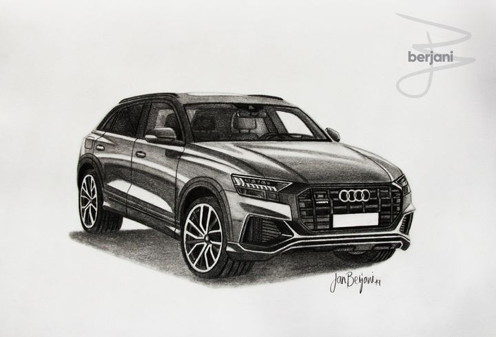 Audi Q8 2019 pencil car drawing - Berjani