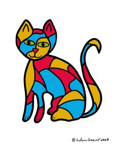 Colorful Stained Glass-Looking Cat