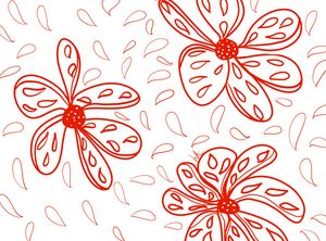 Red Floral Line Drawing
