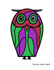 Stained Glass-Looking Owl