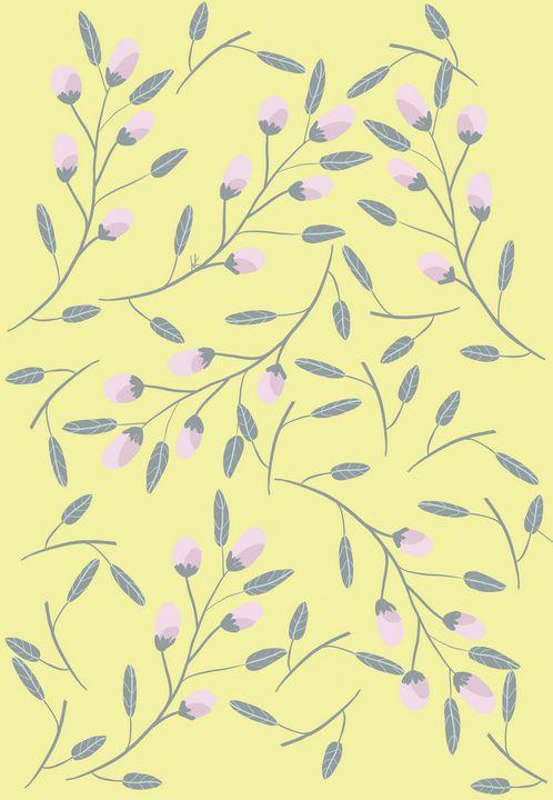 Pink Rosebuds on Yellow Background - hkOriginals