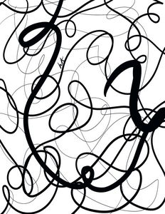 Black Abstract Curvy Tangled Lines