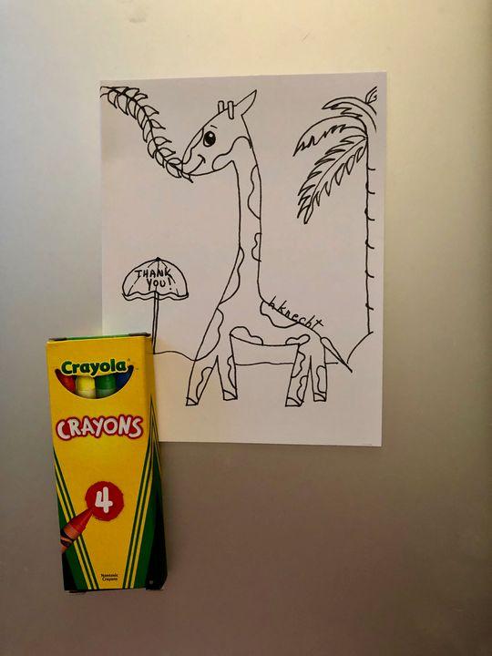 6 Giraffe Thank You Cards w/Crayons - hkOriginals