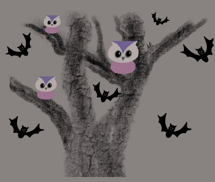 Owls and Bats in Tree - hkOriginals