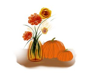Pumpkins and Fall Flowers