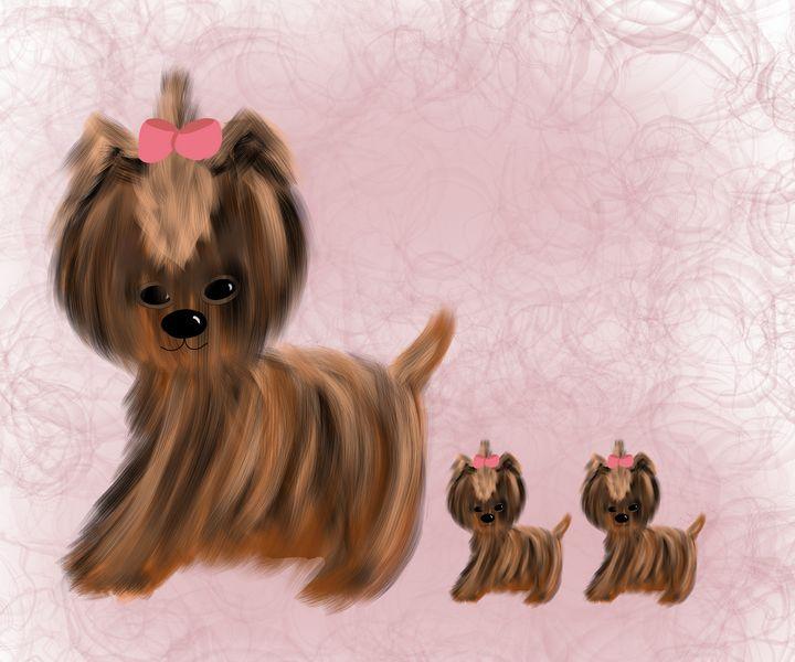 Adorable Little Mama Doggie and Pups - hkOriginals