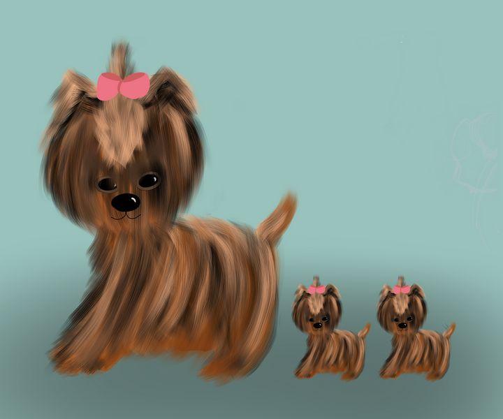 Adorable Little Mama Doggie + 2 Pups - hkOriginals