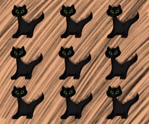 9 Black Frightened Cats