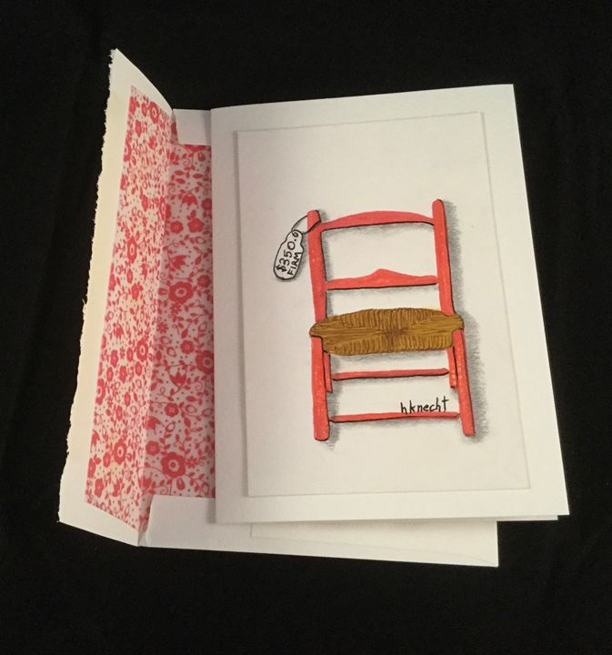 Red Chair Blank Watercolor Card - hkOriginals