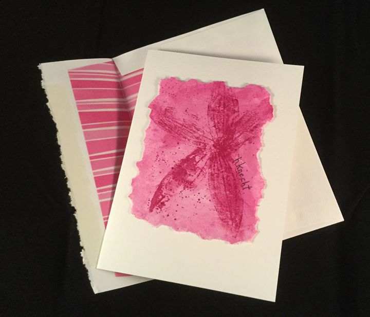 Fuchsia Leaf Print Watercolor Card - hkOriginals