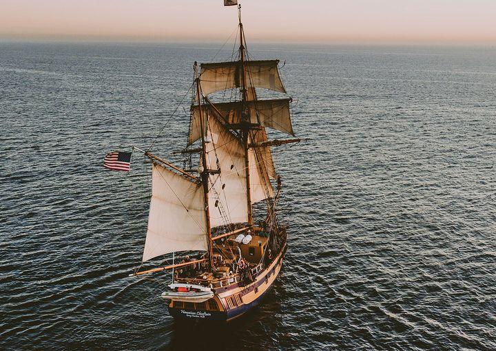 Top View Sailing Ship Fine Art Print - Friends Always Giftshop