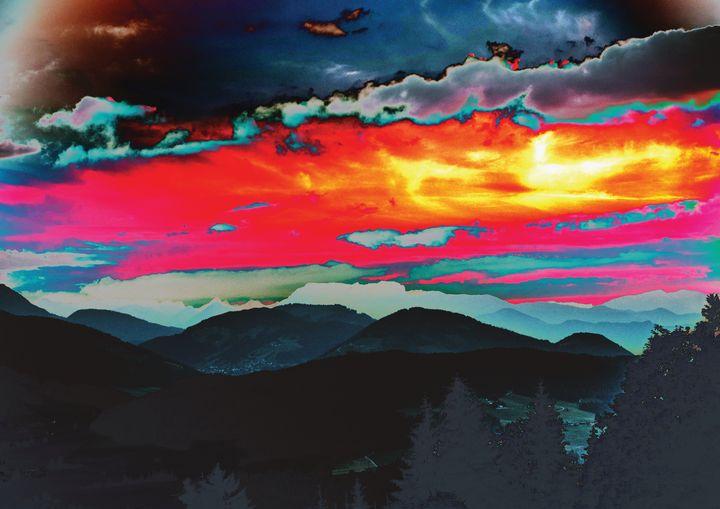 Red Sky Over Mountains Fine Art - Friends Always Giftshop