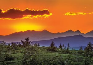 Sunset Over Mountains Fine Art Print