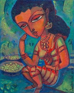 Lady selling flowers-Avatar painting