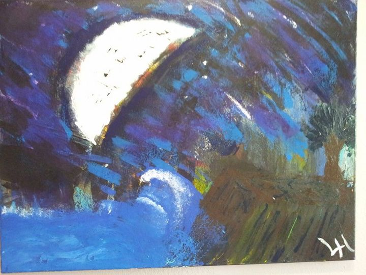 Moonlight Shoreline - Lucas' Abstract Paintings