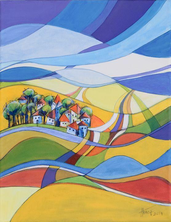 Houses along the river - Aniko Hencz art