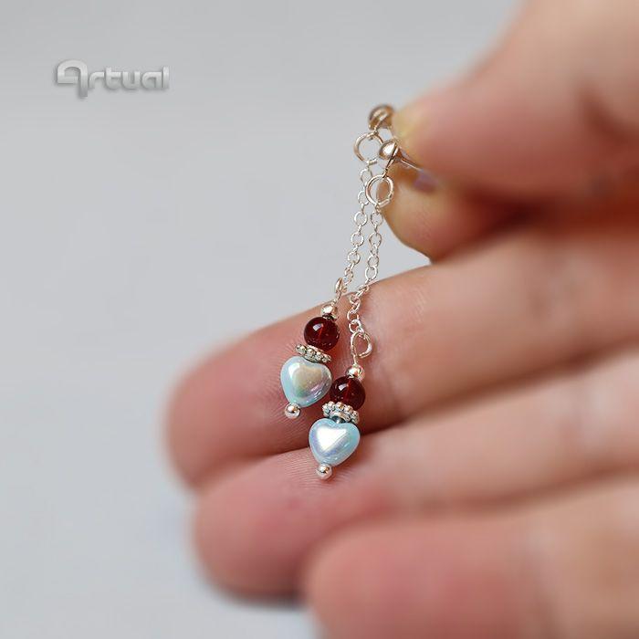 Silver stud chain heart earrings - Aniko Hencz art