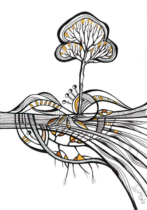 Roots - abstract ink drawing - Aniko Hencz art