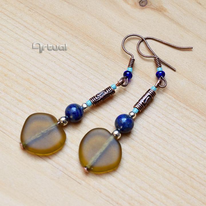 Copper earrings with Lapis lazuli - Aniko Hencz art
