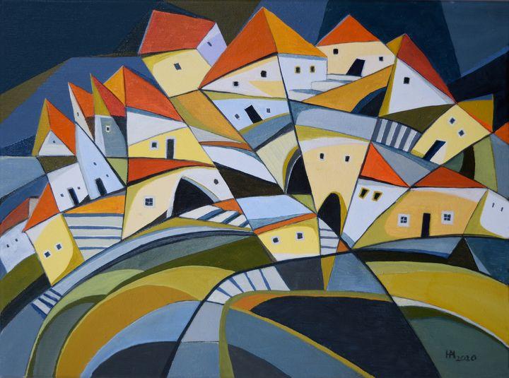 Houses on the hillside - Aniko Hencz art