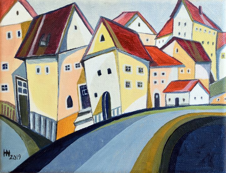 Houses on the lane - Aniko Hencz art