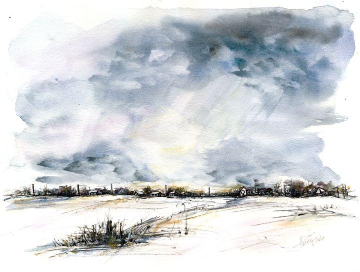 Clouds on the horizon - watercolor - Aniko Hencz art