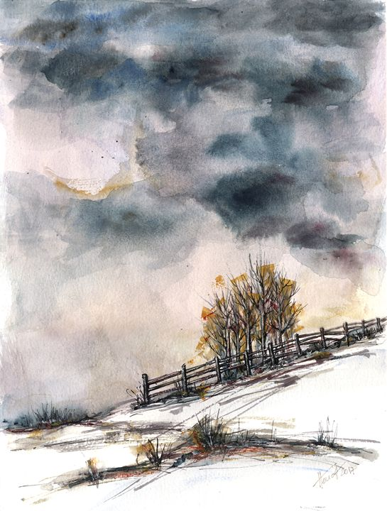 Winter is here - watercolor and ink - Aniko Hencz art