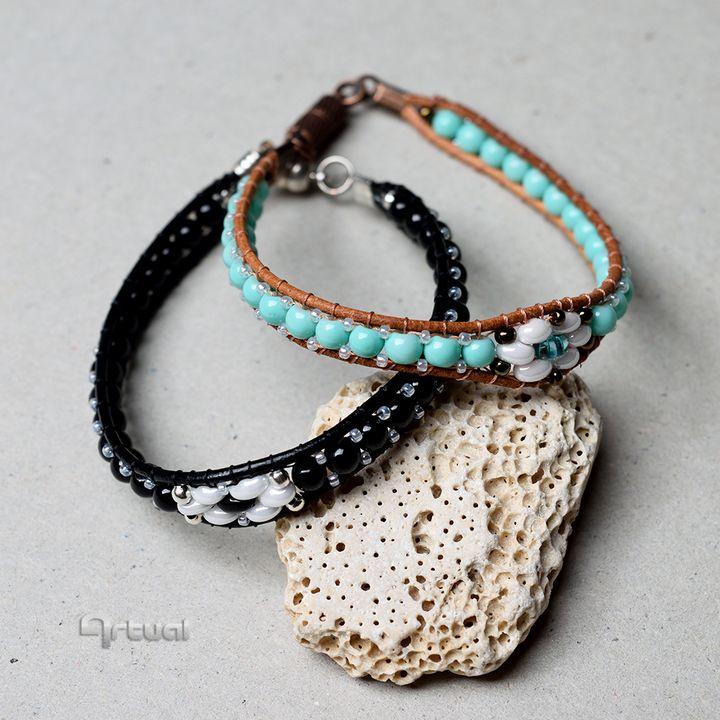 Unisex beaded leather wrap bracelet - Aniko Hencz art