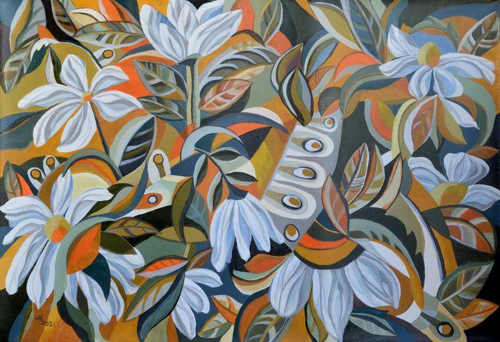 Peacock hiding in the flower garden - Aniko Hencz art