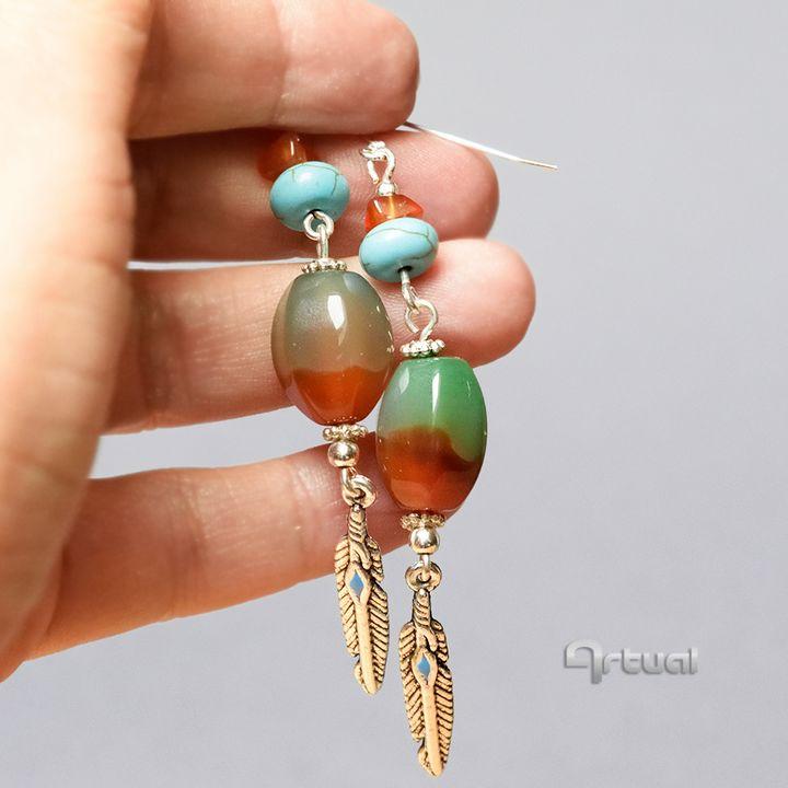 Brazilian agate earrings - Aniko Hencz art