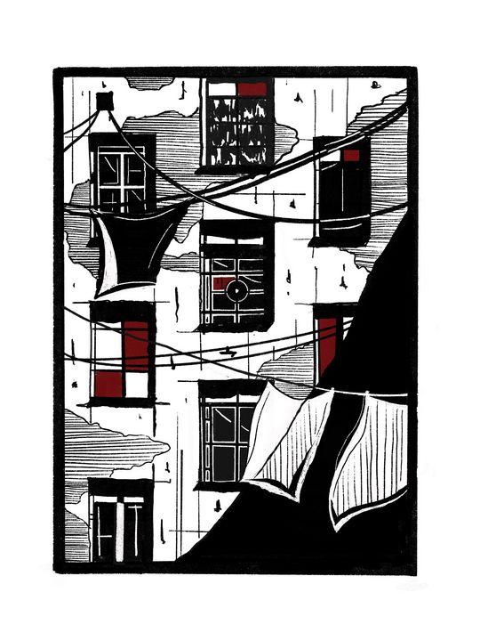 Tenement house linocut - Bartosz Michalowski