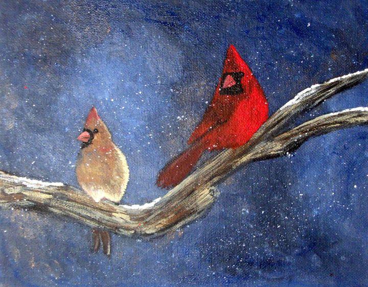 Cardinal love - Tami Booher Appalachian Nature Painter