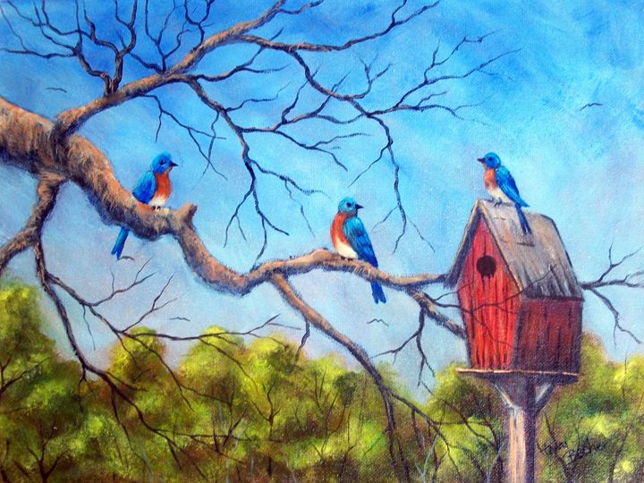 bluebirds - Tami Booher Appalachian Nature Painter