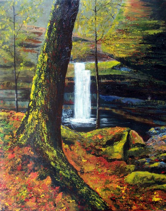 Hidden Waterfall - Tami Booher Appalachian Nature Painter
