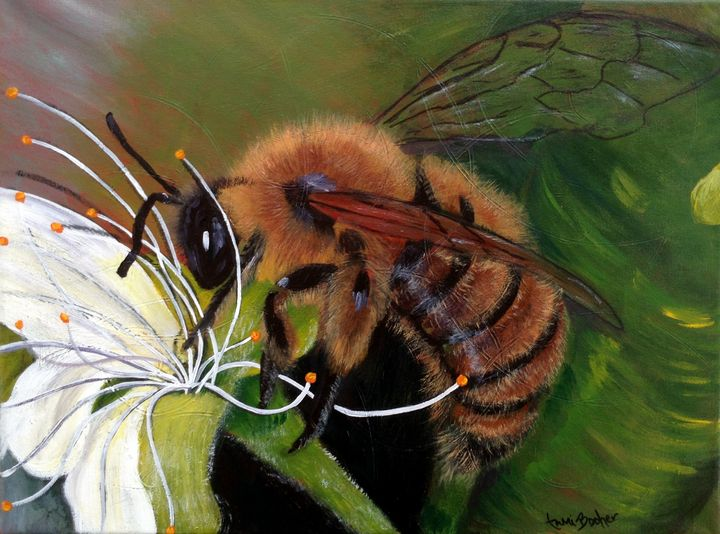 She works hard for the honey - Tami Booher Appalachian Nature Painter