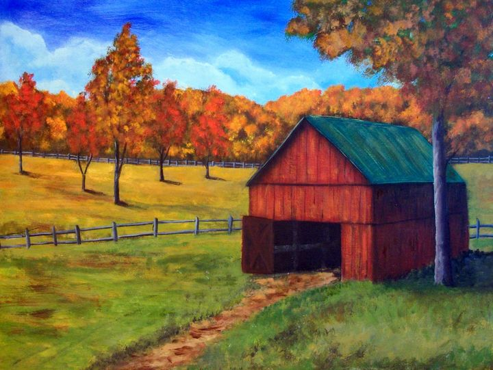 Little Red Barn - Tami Booher Appalachian Nature Painter