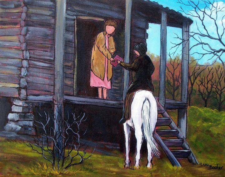 Horseback librarian - Tami Booher Appalachian Nature Painter