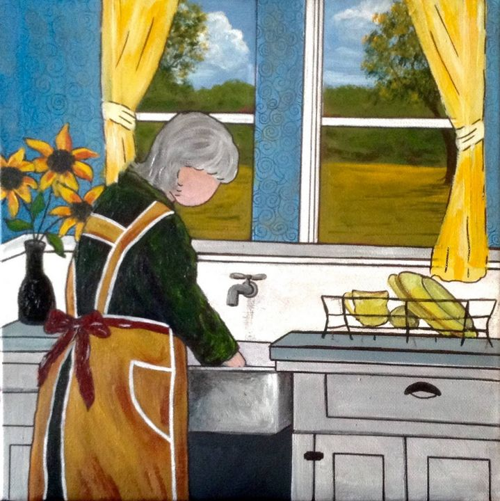 Washing dishes - Tami Booher Appalachian Nature Painter