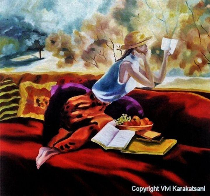 Spring Reading - Vivi Karakatsani Art