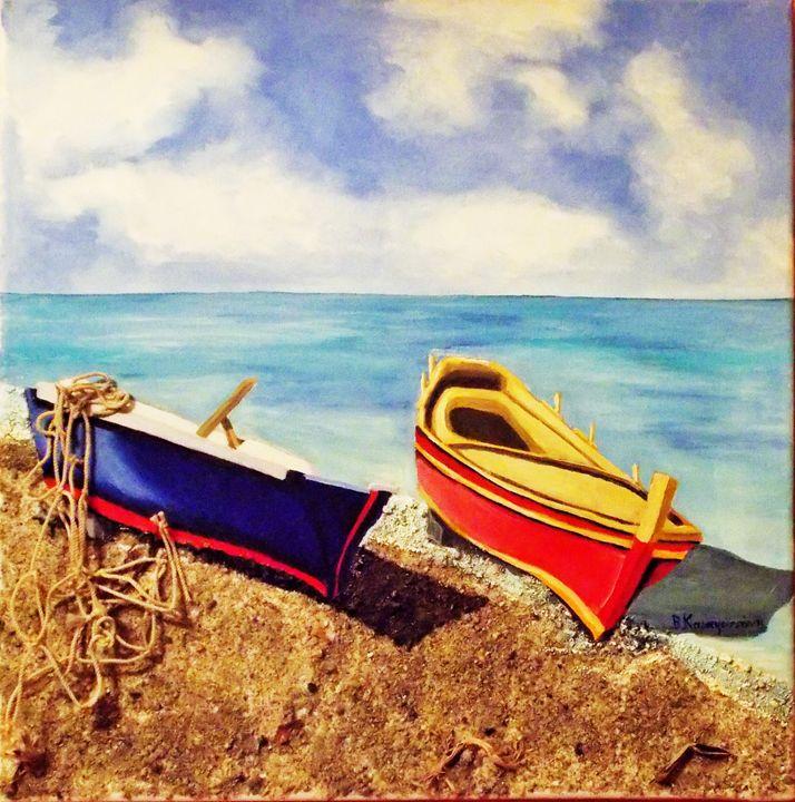 Fishing boats at Chalkidi, Greece - Vivi Karakatsani Art