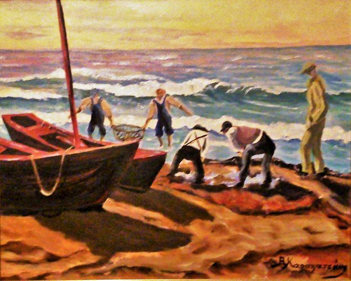 Amorgos fishermen - Vivi Karakatsani Art